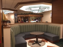sitting areas in Disney's Paradise Pier Hotel lobby